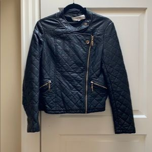 Patrizia Luca faux leather quilted black moto